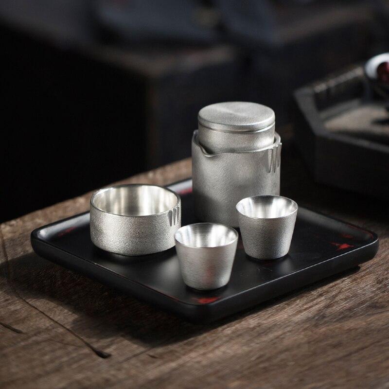 Ensemble de thé de voyage en porcelaine argent TANGPIN 999 théière en argent fait à la main