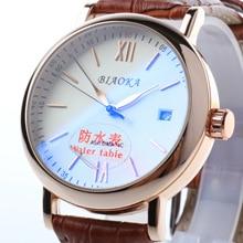 2016 новый Известный Бренд BIAOKA Кожаный Ремешок часы синего стекла 100 м глубины водонепроницаемый календарь мужчины механические часы Мужской Стол