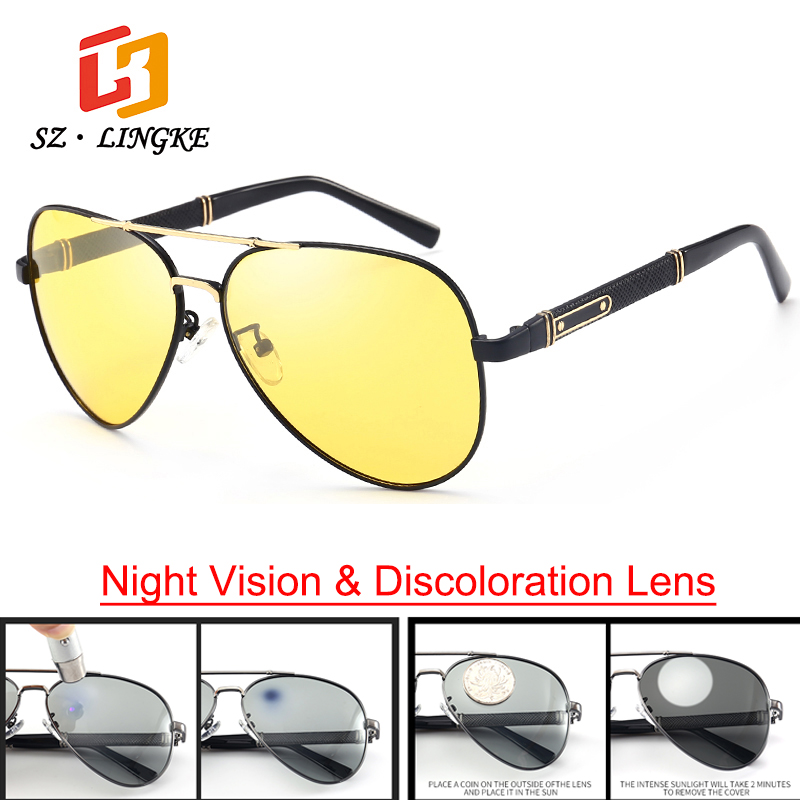 SZLINGKE Discoloration Photochromic Men Sunglasses ...
