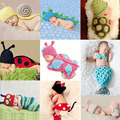 Venda quente Animais Infantil Traje Da Sereia do bebê Recém-nascido chapéu Borboleta Roupa Dos Miúdos Define Bebê Caracol Fotografia Prop Crochet Roupas