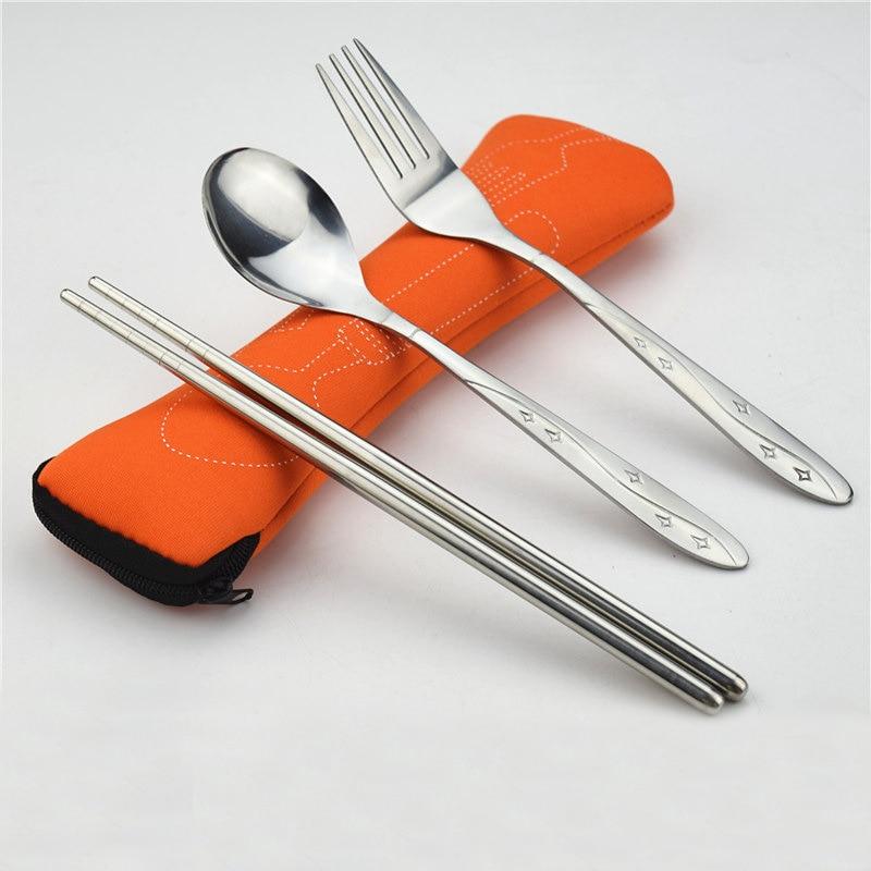 Modni 3pcs / set Prenosni jedilni pribor za jedi iz nerjavečega - Kuhinja, jedilnica in bar