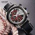 MEGIR Мужские кварцевые часы с хронографом  кожаный ремешок  водонепроницаемые спортивные аналоговые наручные часы для мужчин  светящиеся ст...