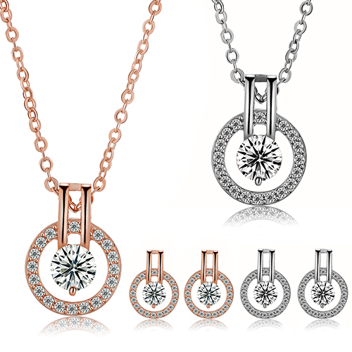 New Arrival Women's Zircon Round Pendent Choker Chain Necklace Earrings Wedding Jewelry Set Fashion Leader' Choice 3