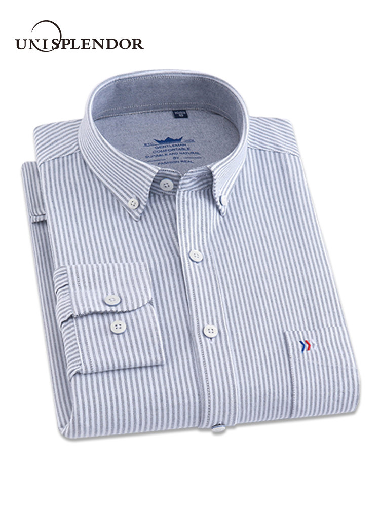 bb7f647732 Comprar 2018 Chegada Nova Camisas de Homem Vestido de Camisa de Manga Longa  Listrada Homens Camisa Casual Xadrez Masculino 100% Algodão Completa Camisas  ...