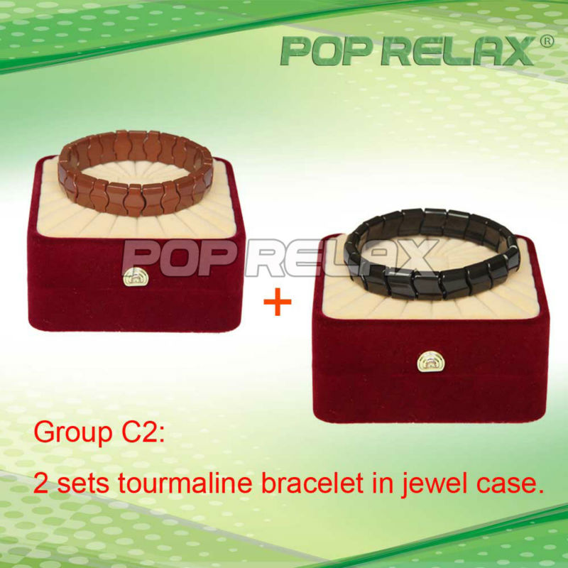 Free Shipping! 2sets Energy anion tourmaline magnetic therapy bracelet POP RELAX Group C2