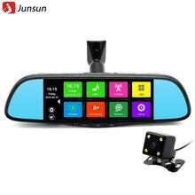 "Junsun 7 ""toque Especial Del Coche DVR Espejo Retrovisor GPS Cámara Bluetooth 16 GB Android 4.4 FHD 1080 p Grabador de Vídeo Dash Doble Lente Cam"