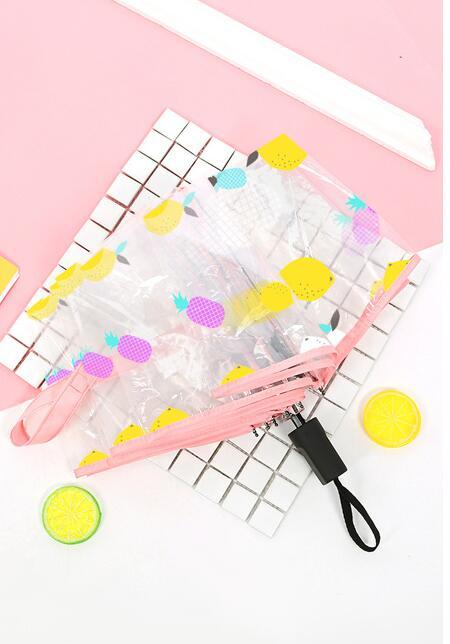 Creative small fresh pineapple fruit full automatic umbrella thickening transparent folding free shipping