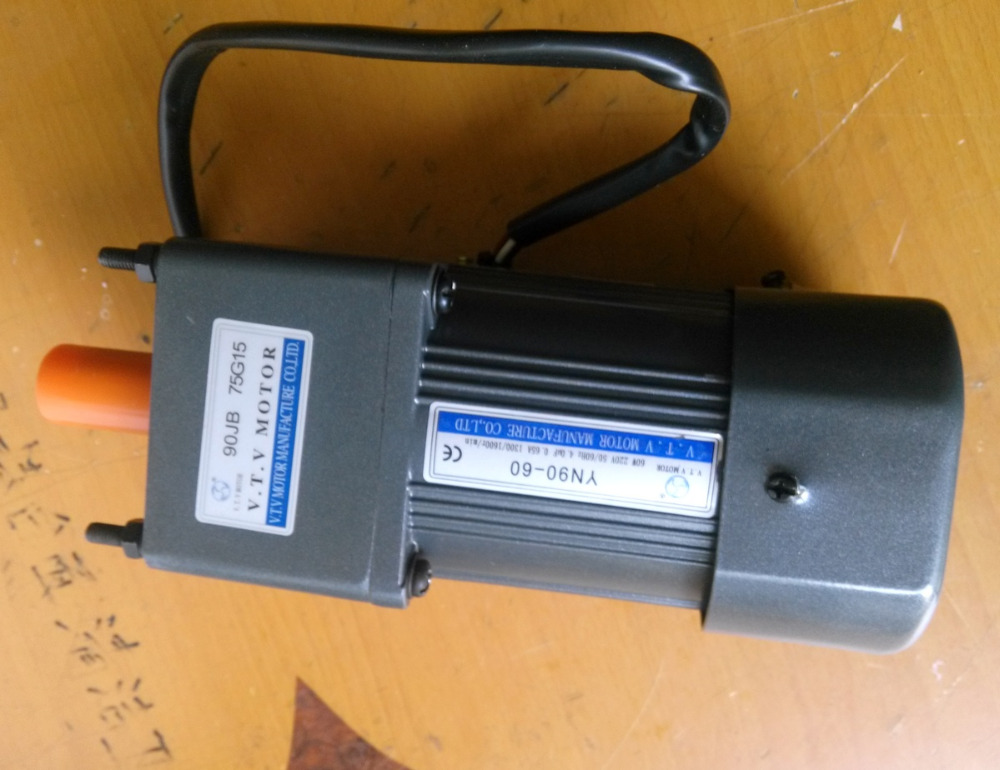 AC motor adjustable speed  reversible motor  gear motor ratio 75:1  220V/YN90-60 VTV 60W regulator speed 60w ac reversible motor 5rk60gu cf with gear ratio 90 1 output speed is 15 r m gear head 5rgu 90k