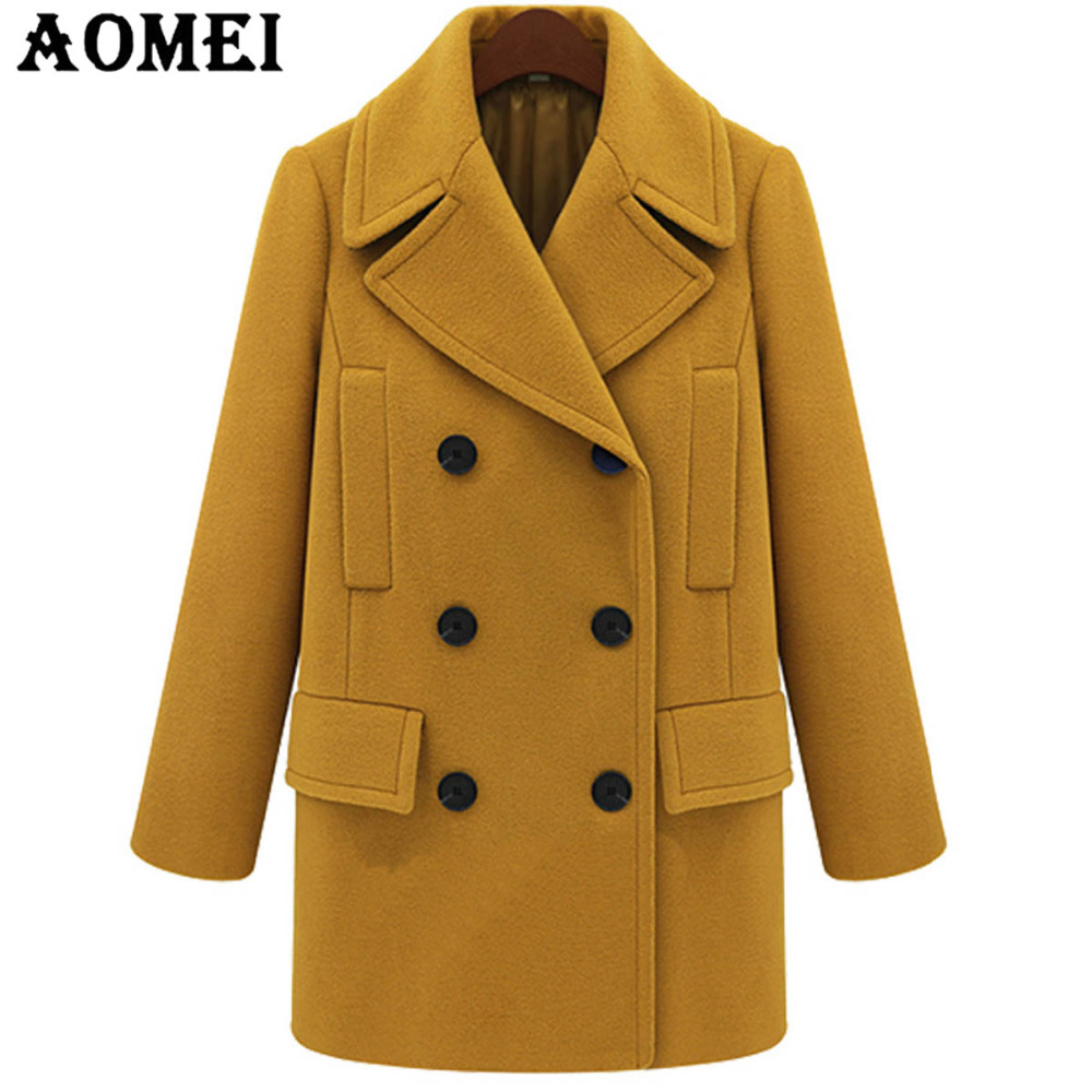 Women Yellow Wool Coat Long Sleeve Casual Woolen Winter Cape Plus Size Tops Outerwear Clothing Fall