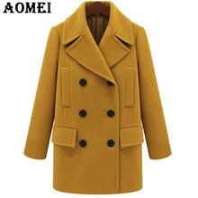 Женское желтое шерстяное пальто с длинным рукавом, повседневная шерстяная зимняя накидка размера плюс, верхняя одежда, осенняя рабочая одежда для офисных леди