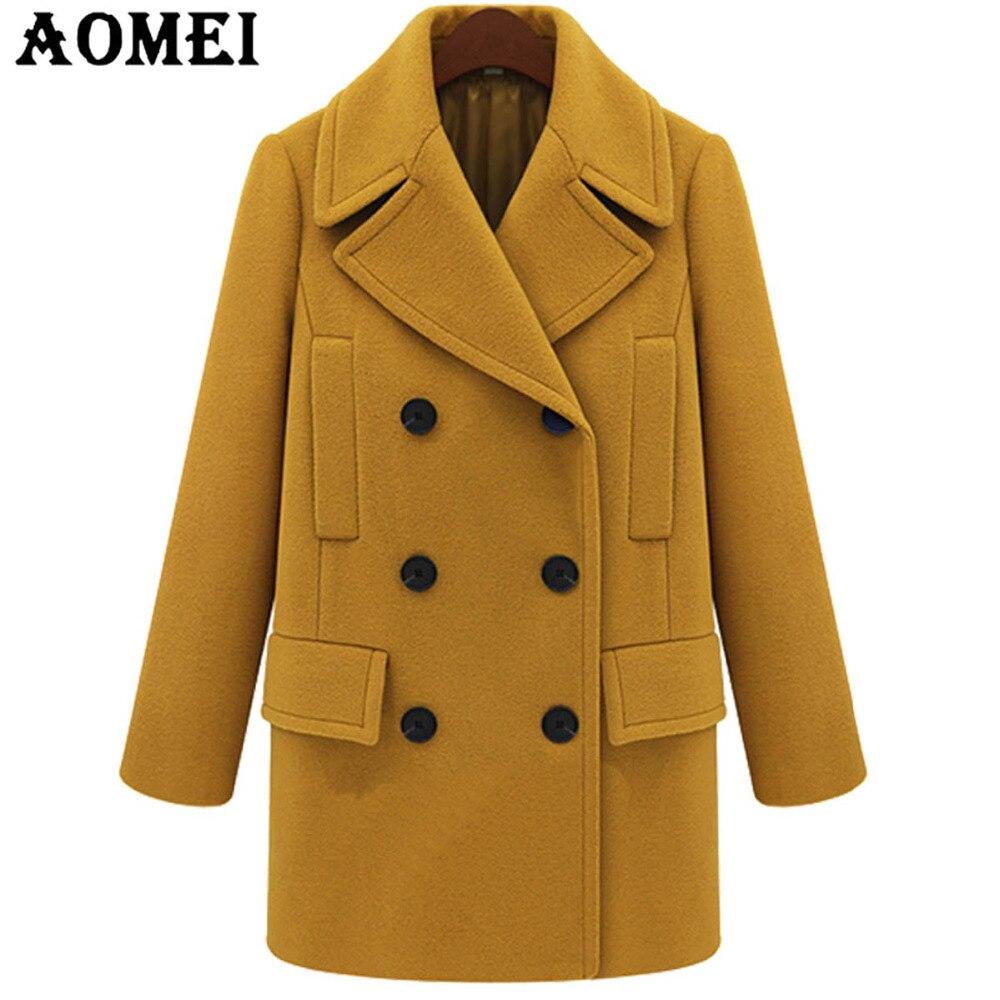 Yellow Manteau Jaune Longues D'hiver Travail Pour Cape Laine Automne Casual Plus Taille La Vêtements De Survêtement Dames Femmes Bureau Manches Tops 1JlcFTK