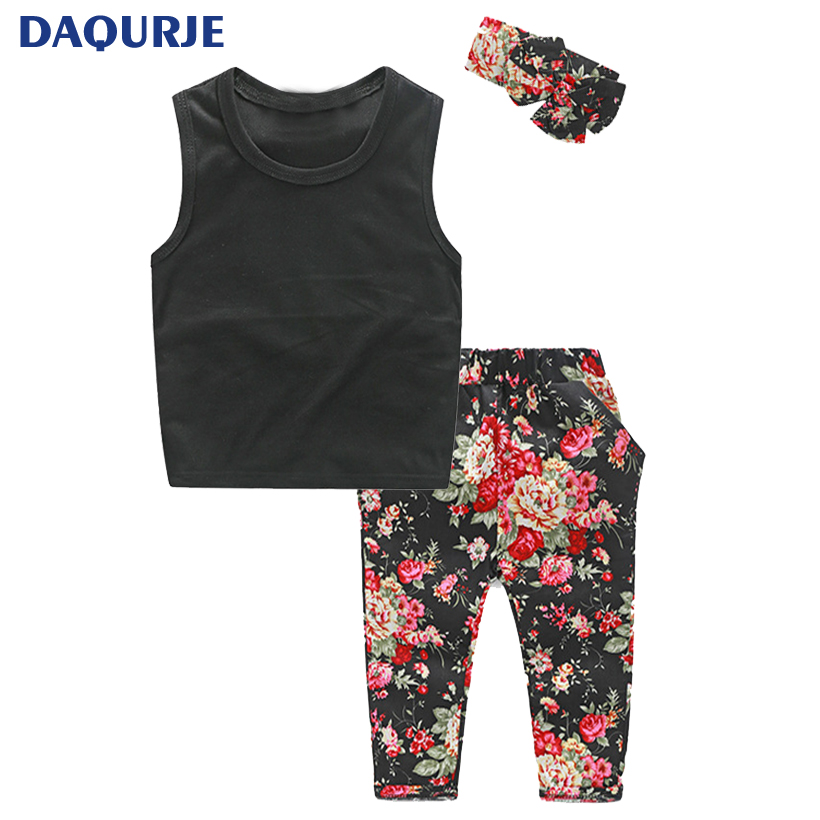 Hot 2017 Europe style summer set kids clothes children girls clothing sets vest flower pants flower
