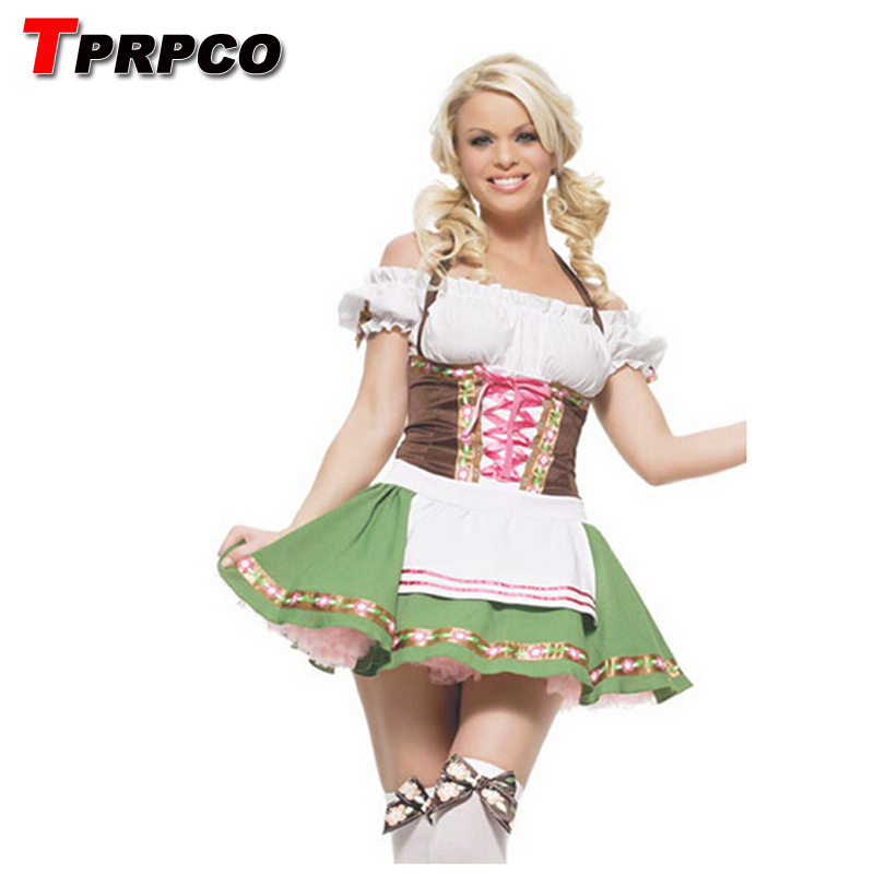 Women Bavarian Costume Green Oktoberfest Costume Gothic Lolita Dress German Beer Girl For Women Halloween Costumes NL147