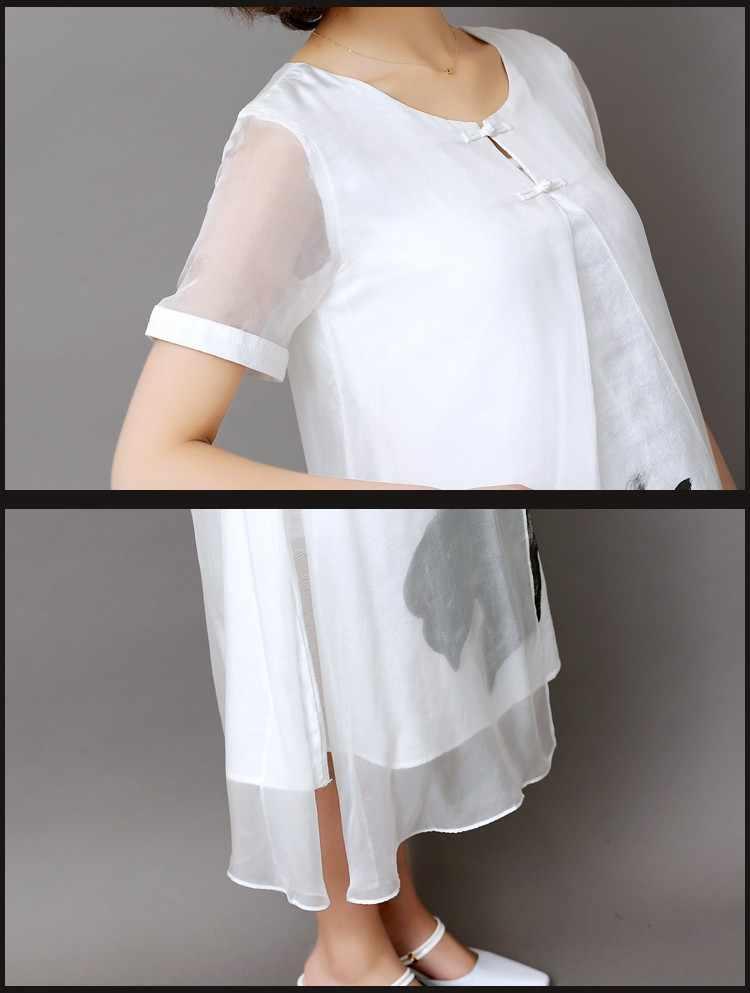 Новинка 2018 года; сезон весна-лето; Белое Женское длинное платье с принтом с чернилами; Ретро; короткий рукав; Хлопок; Лен; дизайн; два предмета; офисные платья