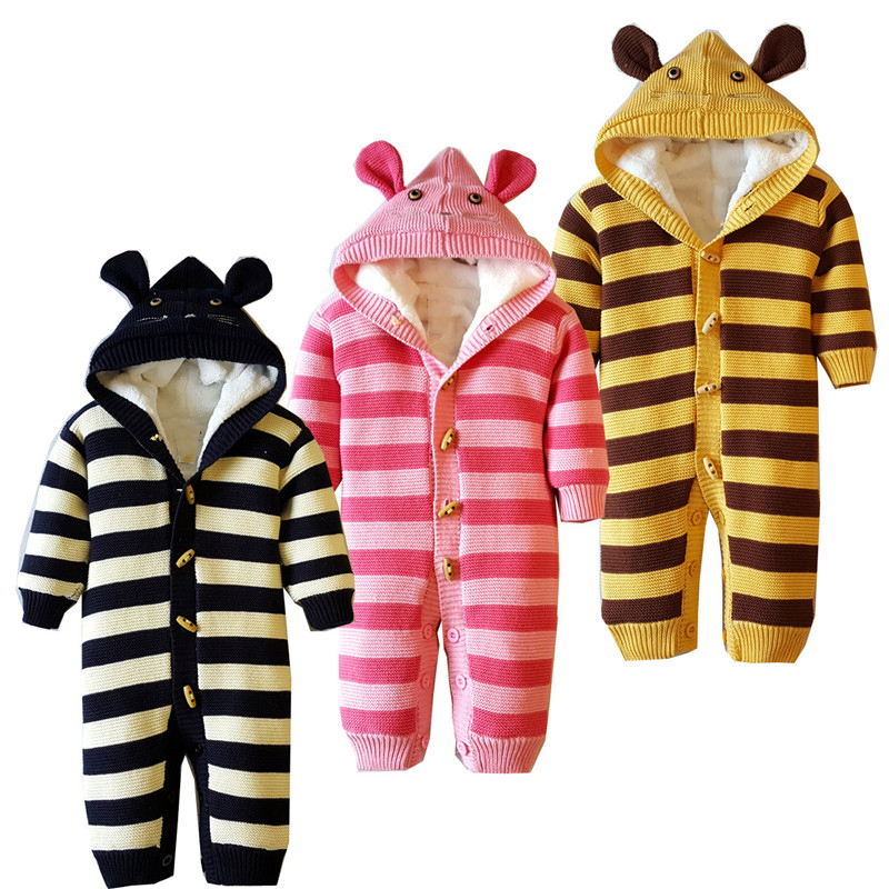 6M-18M Baby Clothing Baby Girl Rompers Coral Velvet Rompers Striped Cotton Thickening Hooded Knitted Baby Boy Rompers Winter V20