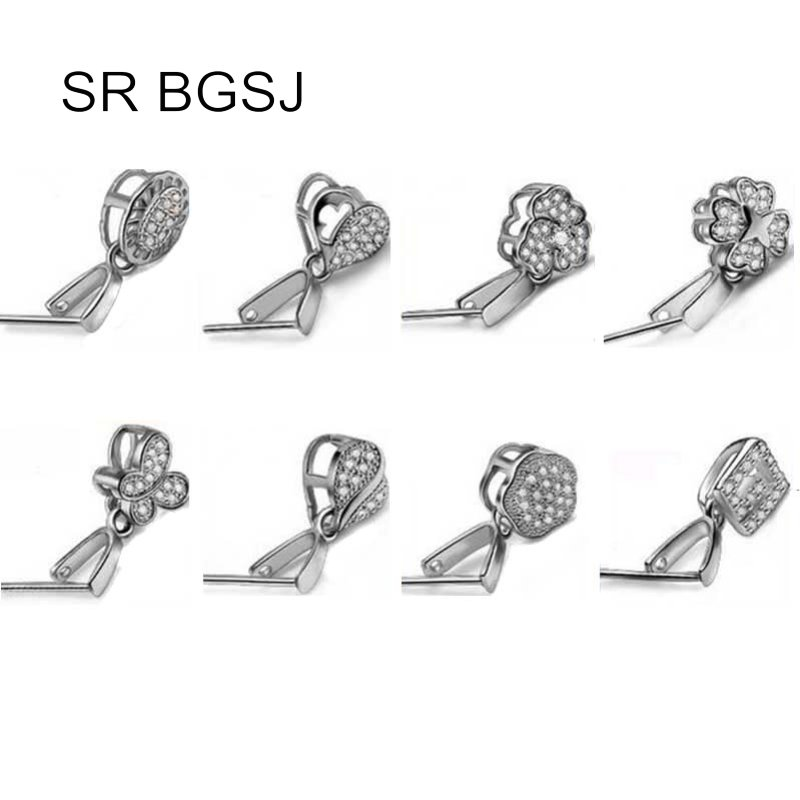 Free Shipping 3 Colors 10pcs Micro Inlay Zircon 925 Sterling Silver Bail Connector Pinch Design Clasp