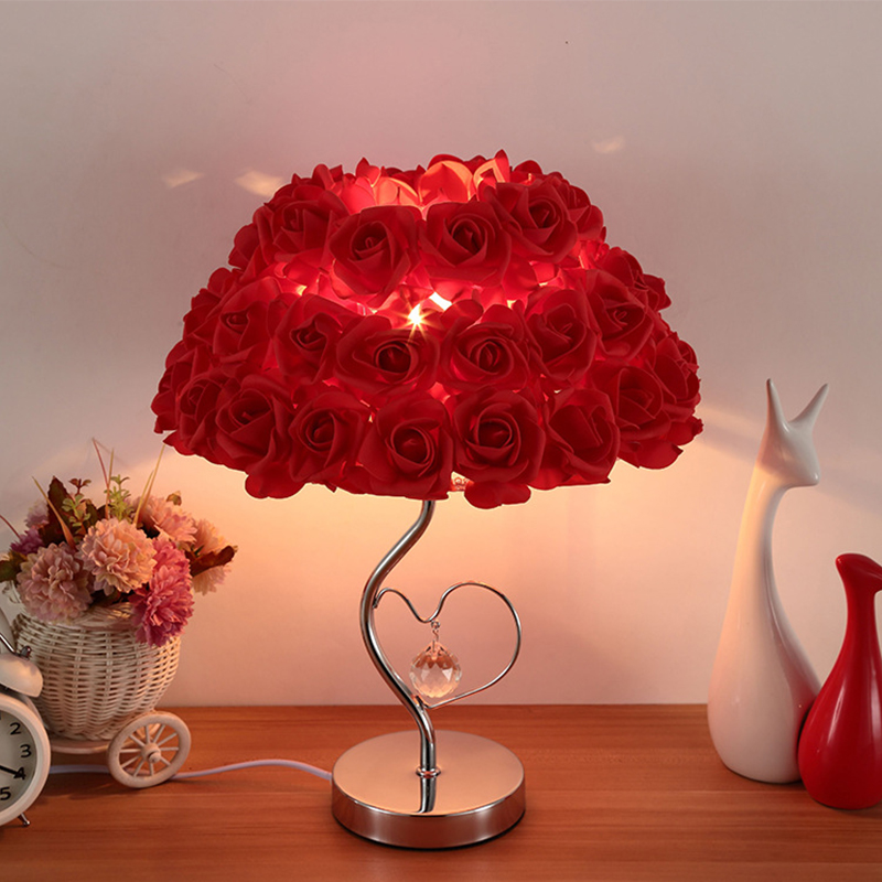 European Table Lamp Rose Flower Night Light Bedside Lamp Home Wedding Party Decor Decoration Lights Valentine's Day Gift