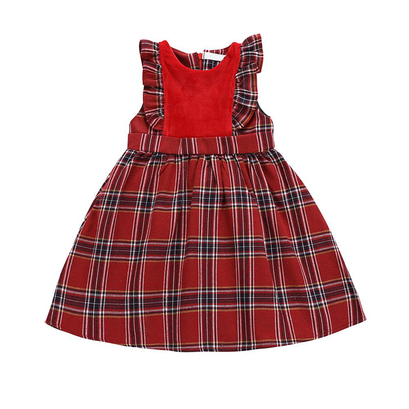 Baby Girls Dress Kids Dresses For Girls Red Plaid Sleeveless Princess Dresses Newborn Toddler Dress Popular Baby Toys
