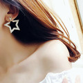Fashion Shinning Big and Small Stars Cubic Zirconia Stud Earrings with Pearl Girl Women Jewelry Accessories