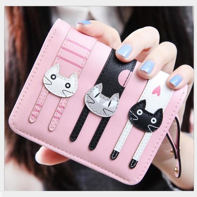 b4164c057e73 Новый 2019 розовый кошелек с котами для девочек небольшой кожаный бумажник  Женские Дешевые Кошельки для монет