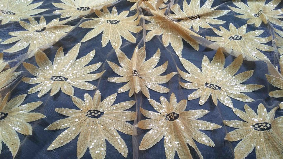 New Sequins African High Quality Net Lace French Voile Guipure tulle mesh Lace Fabric For dress