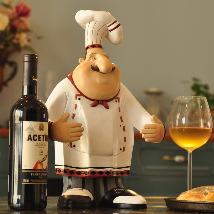 XXXG/La Maison D'ameublement Café Restaurant Chef salon décoration figure casier à vin à la mode décorations Résine chiffres cuire