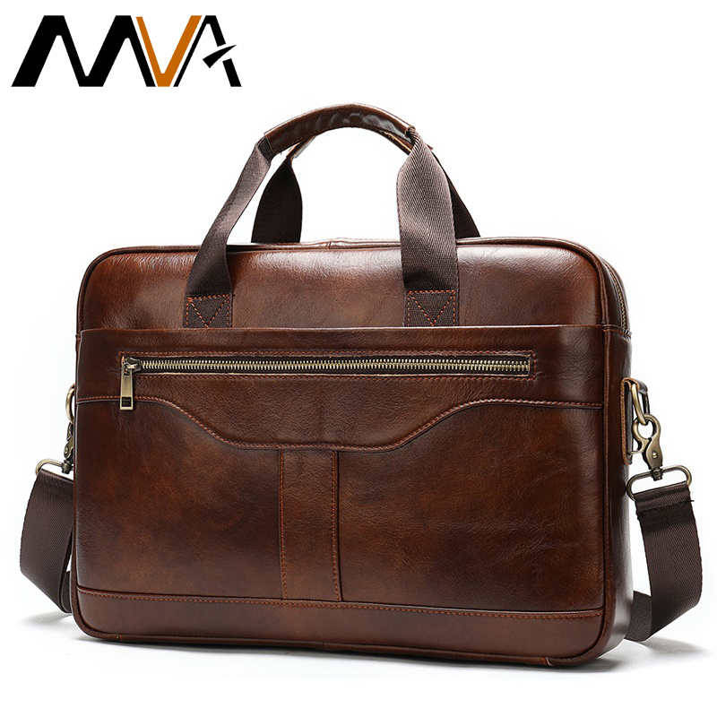 MVA Men's Briefcase/genuine Leather Messenger Bag Men Leather/business Male Laptop Office Bags For Men Briefcases Men's Bag 8824