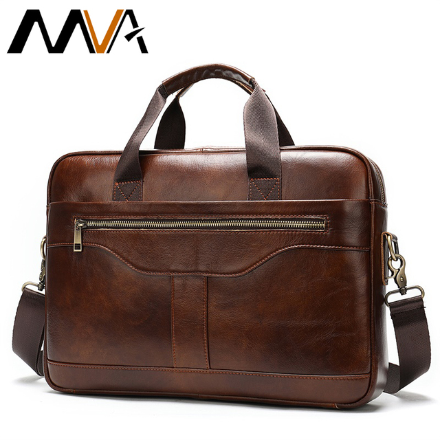 MVA mens briefcase/genuine Leather messenger bag men leather/business male laptop office bags for men briefcases mens bag 8824