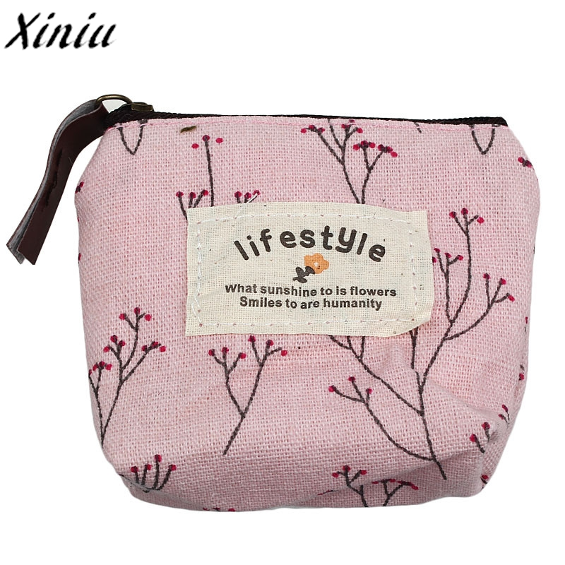 Coin Purse Canvas Floral Prints New Zip Small Wallet Lady Coin Case Fashion Mini Clutch Wallets Monedero Mujer Para Monedas#7321