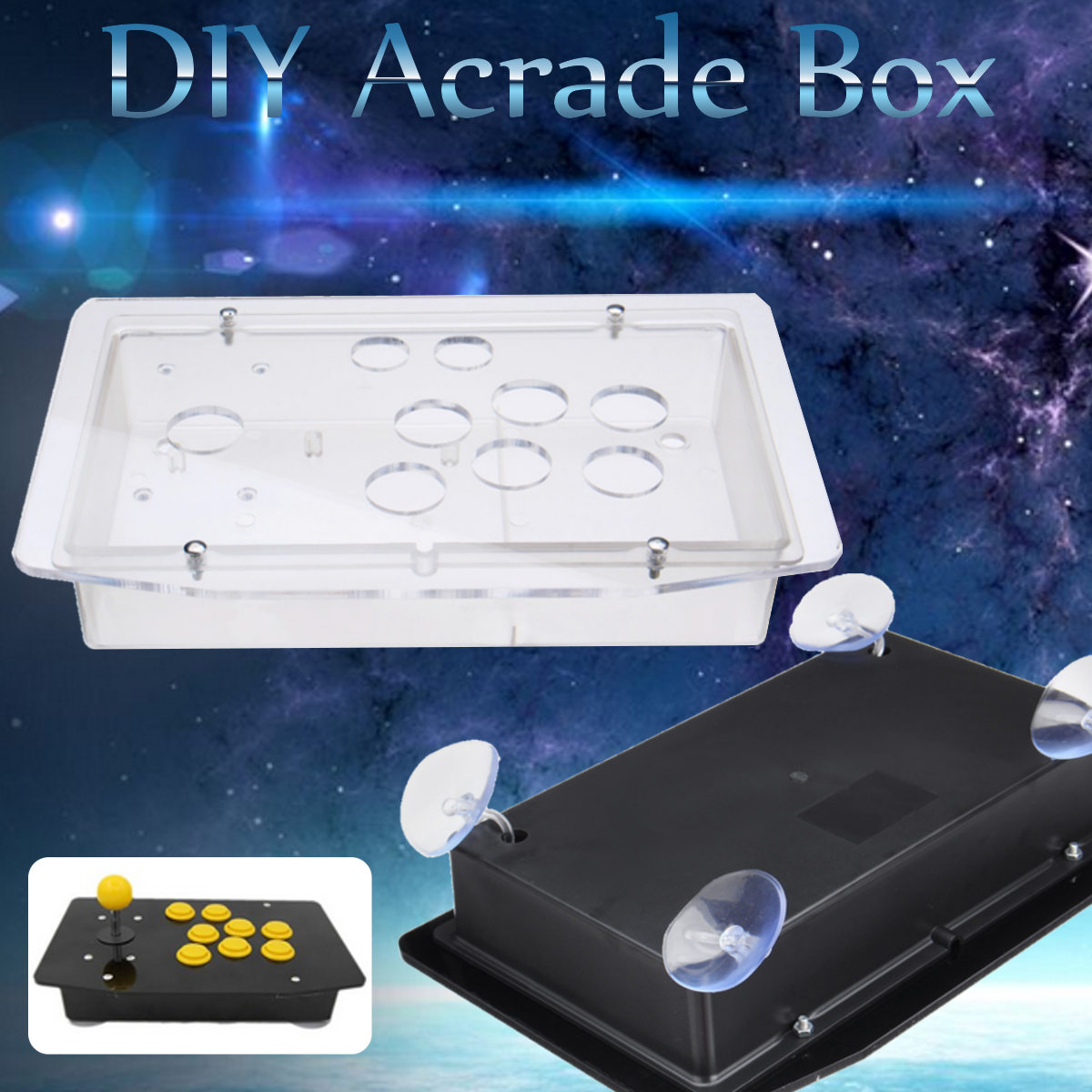 5mm DIY Clear Black Acrylic Panel Case Sturdy Construction Arcade Joystick Replacement Handle Arcade Game Kit Easy to Install ...