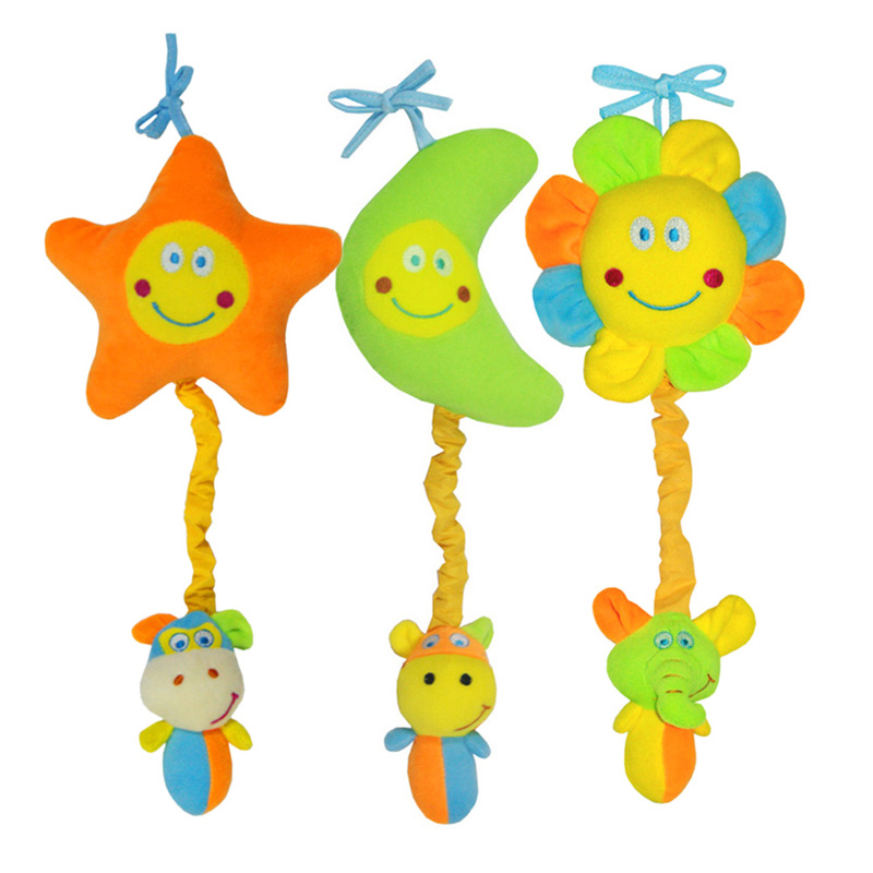 1Pcs Cute Plush Baby Stroller Crib Hanging Doll Toy Lovely Star Moon Animal Bed Rattle Toy Developmental Stretched Toy
