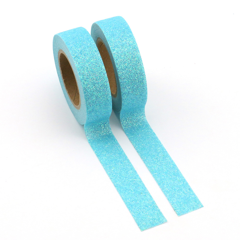New Glitter Washi Tape Japanese Stationery 1.5*5meter Kawaii Scrapbooking Tools Masking Tape Adhesiva Decorativa Blue 1pcs