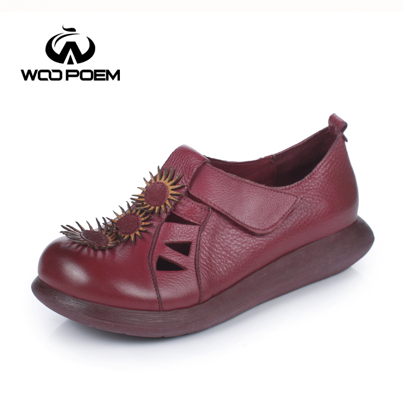 ФОТО WooPoem Spring Autumn Shoes Women Breathable Cow Leather Shoes Comfortable Low Heel Flat Platform Casual Flower Lady Shoes 2691