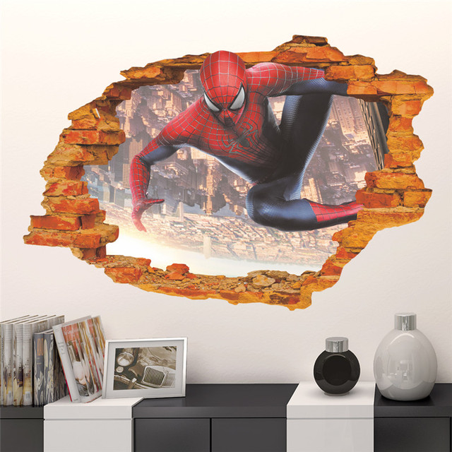 Cartoon Hero Spiderman Wall Sticker For Kids Rooms 3d Effect Childrenu0027s Wall  Decals Boyu0027s Room Decor