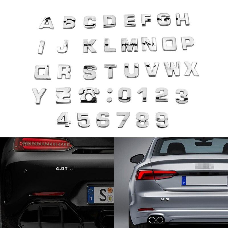 25mm DIY Letters Alphabet Emblem Chrome Car Stickers Digital Badge Automobiles Logo 3D Metal Car Accessories Motorcycle Sticker