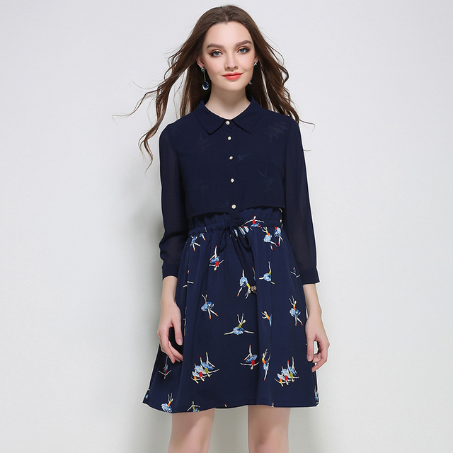 5xl Women Cute Dress Plus Size European Woman Patchwork Bird Print