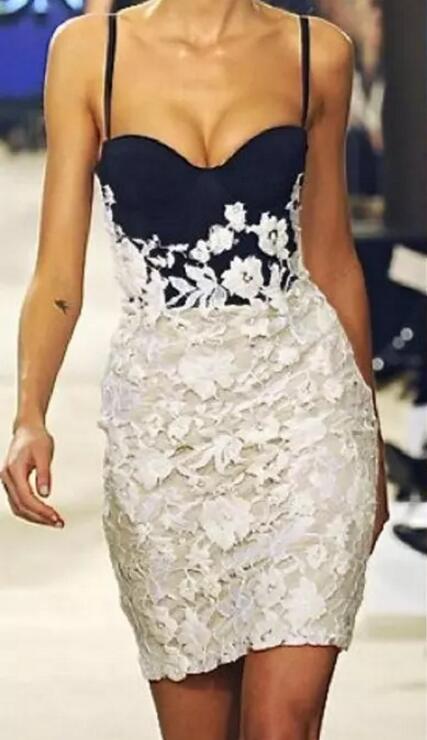 Lace 2019   Cocktail     Dresses   Sheath Spaghetti Straps Beaded Elegant Short Mini Party Homecoming   Dresses