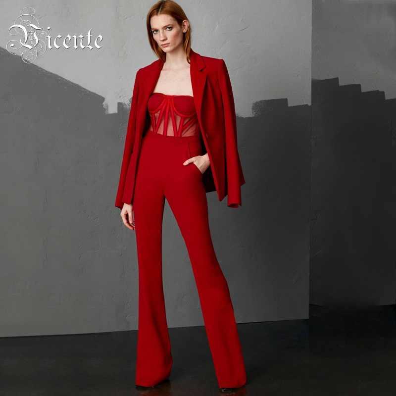 01e06ec9bd8c Vicente Новое поступление шикарный ярко-красный комбинезон плюс куртка  сексуальная сетка прозрачная оптовая вечерние Продажа