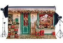 Fotoğraf Backdrop noel hediyeleri Santa Calus dükkanı kızak baston şeker süsler noel arka planında arka plan