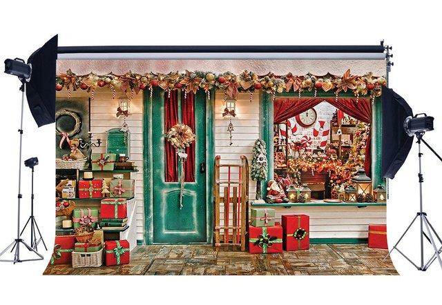 Photographie toile de fond cadeaux de noël Santa Calus boutique traîneau bonbons canne ornements noël décors arrière plan