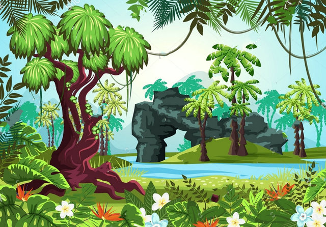jungle theme forest panorama river rocks palms trees bushes flowers