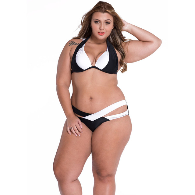 16775a6a64a4d SEBOWEL Color Block Plus Size Bikini Swimwear Women Sexy 2 piece Push Up  Padded Swimsuit Female Summer Bikini Beach Bathing Suit