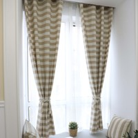140x215cm Cotton Finished Curtain For living room blinds bedroom Bay Window Semi shading Yarn Dyed Cloth Drapes Curtain55*85 in
