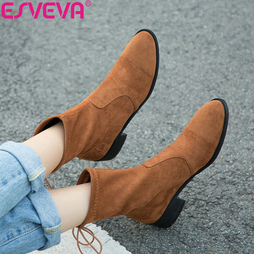 ESVEVA 2019 Winter Boots Woman Brown Shoes Lace Up Women Ankle Boots Square Med Heels Sewing Solid Shoes Round Toe Size 34 43