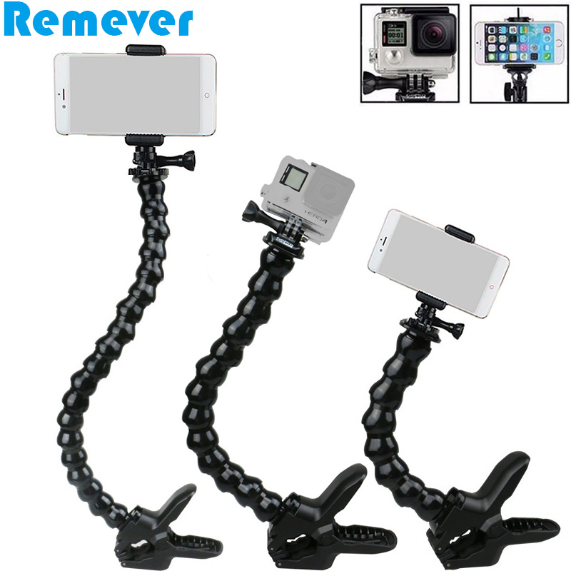 Flexible Selfie Stick with Holder for Iphone Samsung Xiaomi Android Phones Goose Neck with Clamp for Gopro SJcam Action Cameras