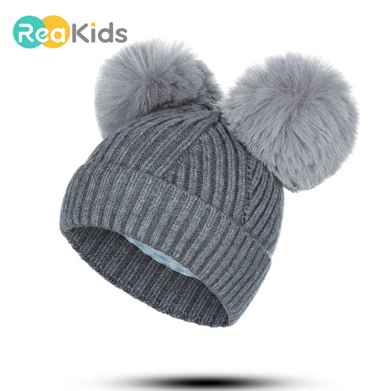 39cad6009d7 Detail Feedback Questions about REAKIDS Baby Boys Girls Double Hair Ball Hat  Cute Fashion Solid Children Thick Winter Hat For Kids Cotton Knitting Cap  Baby ...