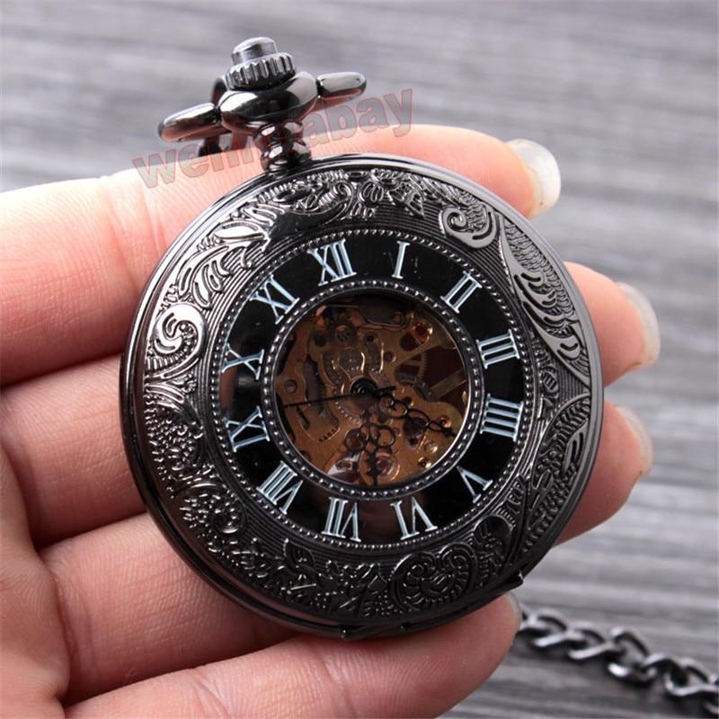 Vintage Սև մեխանիկական գրպանի ժամացույց - Գրպանի ժամացույց - Լուսանկար 2