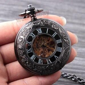 Image 2 - Vintage Schwarz Mechanische Taschenuhr Herren Klassische Elegante Hohl Skeleton Hand wind Retro Männlichen Uhr Anhänger FOB Kette Uhren
