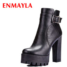 ENMAYLA Womens High Heels Ankle Boots for Women Punk Buckle Round Toe Platform Boots Square Heels Shoes Woman Big Size 42