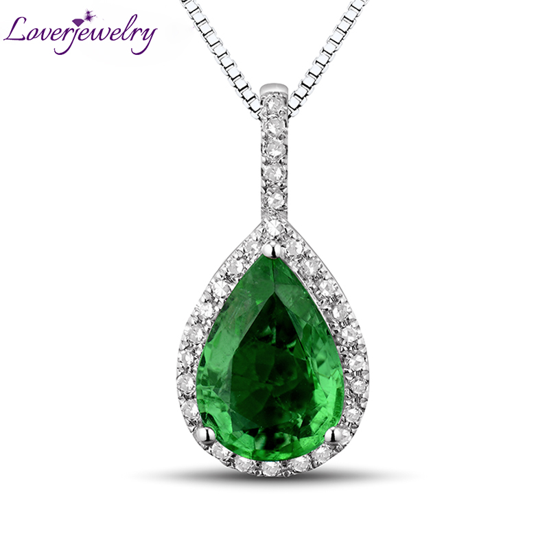 Christmas NEW Pear Cut Gemstone Solid 18K White Gold Natural Gorgeous Emerald Diamond Wedding Pendant Necklace for Women Jewelry 18k 750 white gold pendant gh color round lab grown moissanite double heart necklace diamond pendant necklace for women jewelry